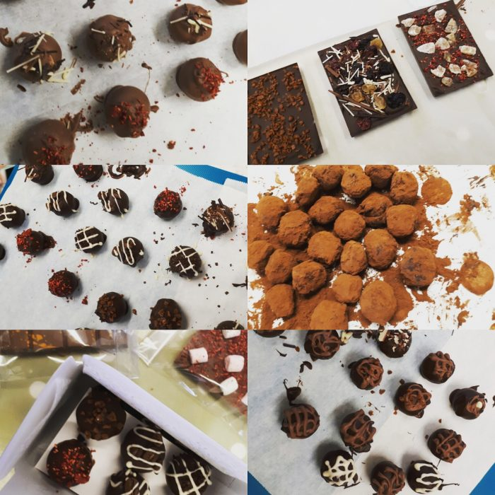 Collage of 6 photos - various chocolates and tablettes piped, dusted and sprinkled with different toppings