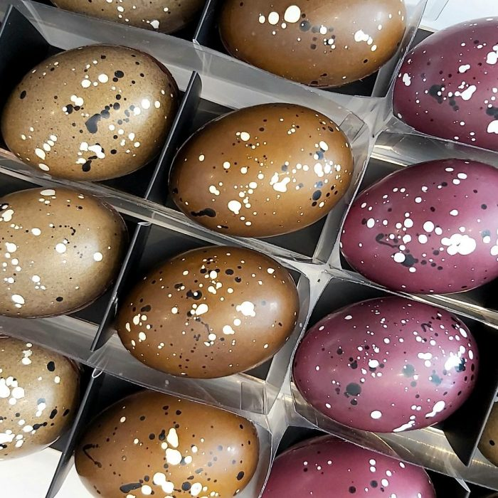 Dark chocolate caramel filled duck eggs